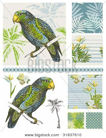 Create tropical digital paper or textiles with these stylish floral and bird seamless patterns.  Great for textiles too.