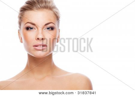 Blonde woman. Isolated over white.