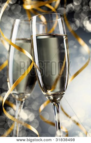 Closeup of pair glass with champagne