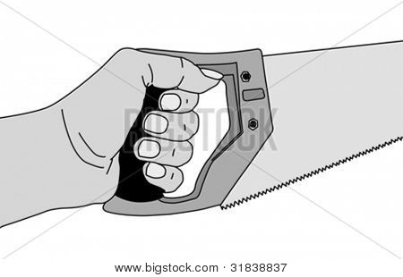 saw in hand on gray background, vector illustration