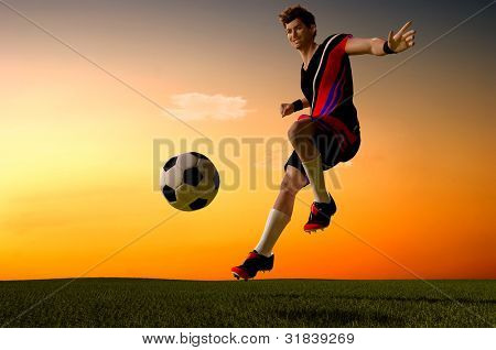 Soccer player hits the ball.