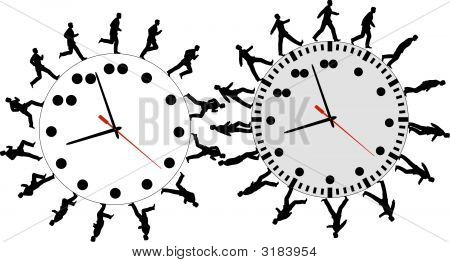 Business People On Time Run Walk Around The Clock