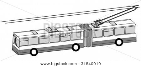 trolley bus silhouette on white background, vector illustration