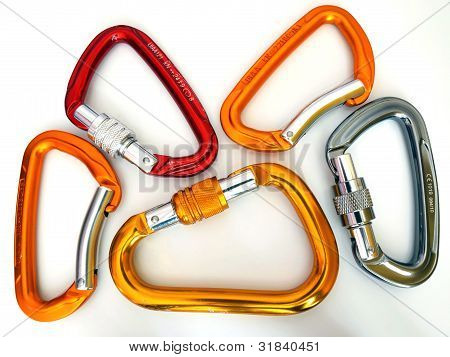 Climbing Equipment- Five Multicolor Carabiners