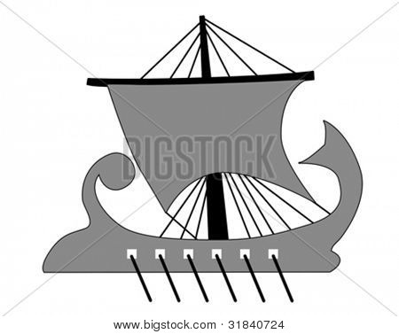galley silhouette on white background, vector illustration