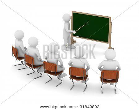 professor com ponteiro no quadro-negro. Isolado de imagem 3D