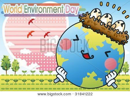 World Environment Day - cute birds and smiling happy planet with pink heart on a background of beautiful blue sky and green field : vector illustration