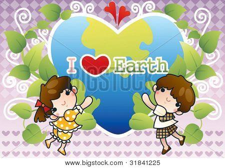 Día Mundial del medio ambiente - sonriendo a felices niños con hermoso planeta de lindo corazón en forma de v