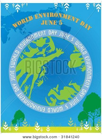 World Environment Day - green animals on beautiful ECO EARTH on blue background : vector illustration