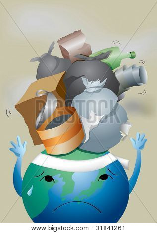 World Environment Day - protecting painful blue planet from dirty garbage dump : vector illustration