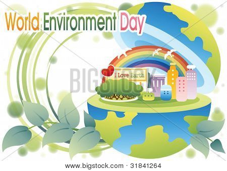 World Environment Day - beautiful natural park and colorful urban buildings in cute globe on white background : vector illustration