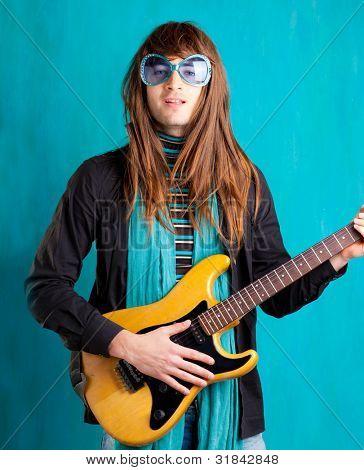 humor retro vintage hip heavy seventies guitar player with sunglasses