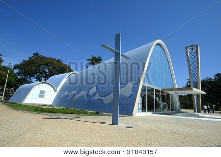 BELO HORIZONTE - JULY 22:  A cross lies outside the church of Sao Francisco de Assis July 22, 2005 in Belo Horizonte, Brazil. Built by Oscar Niemeyer it is also known as the Church of Pampulha.