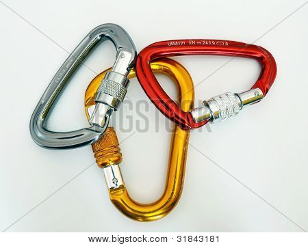 Climbing Equipment - Three Multicolor Carabiners