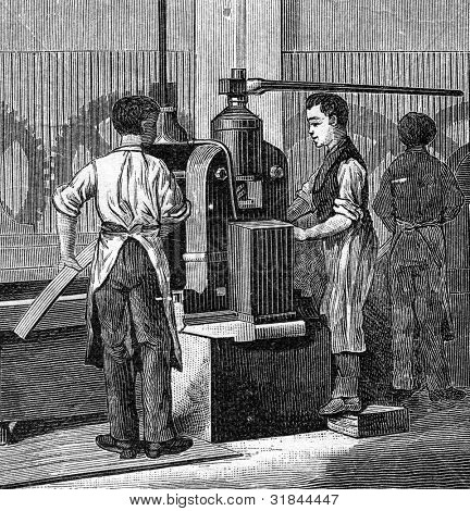 Factory for production of fountain pens. Rolling of steel strips. Engraving by  Shyubler. Published in magazine