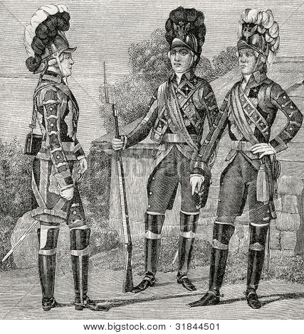 "Officer and a Guardsman at the time of Emperor Paul I (1797). Engraving by  Shyubler. Published in magazine ""Niva"", publishing house A.F. Marx, St. Petersburg, Russia, 1899"