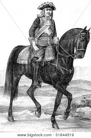 """Officer and a Guardsman at the time of Emperor Paul I (1797). Engraving by  Shyubler. Published in magazine """"Niva"""", publishing house A.F. Marx, St. Petersburg, Russia, 1899"""