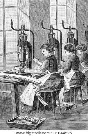 """Factory for production of fountain pens. Cut pieces. Engraving by  Shyubler. Published in magazine """"Niva"""", publishing house A.F. Marx, St. Petersburg, Russia, 1899"""