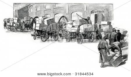 Trucks horse carriages. Published in magazine