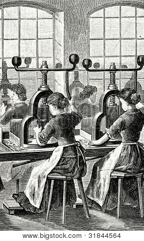 Factory for production of fountain pens .Bending feathers. Engraving by  Shyubler. Published in magazine