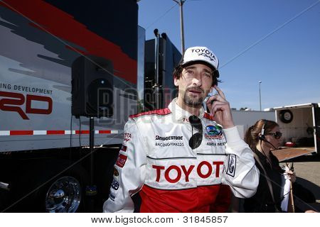 LONG BEACH, CA - APR 3: Adrien Brody at the 36th Annual 2012 Toyota Pro/Celebrity Race - Press Practice Day on April 3, 2012 in Long Beach, California