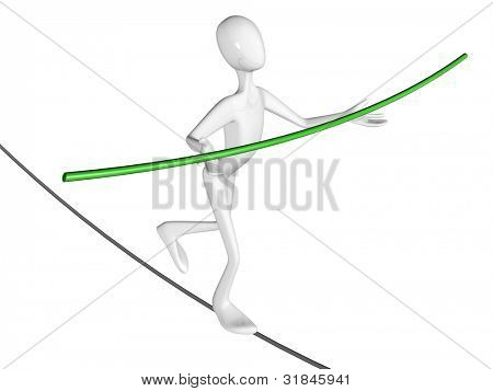 Man walk the walk the tightrope isolated on white background.