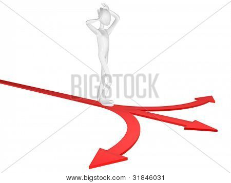 Man and road fork isolated on white background.