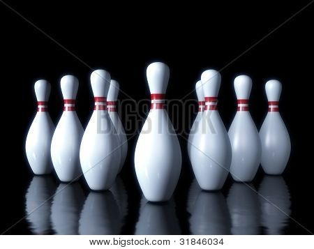 Bowling pin on the dark background 3d sport object