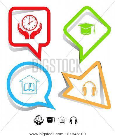 Education icon set. Headphones, clock in hands, graduation cap, library. Paper stickers. Vector illustration.