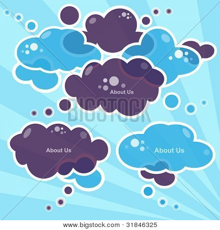 Cloud speech bubbles, vector