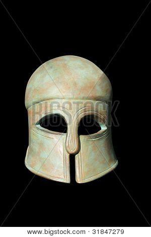 Ancient Greek Helmet over black background