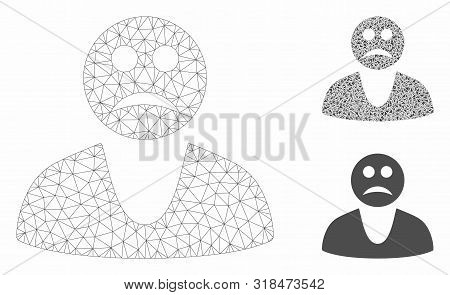 poster of Mesh Sad Guy Model With Triangle Mosaic Icon. Wire Carcass Polygonal Mesh Of Sad Guy. Vector Mosaic