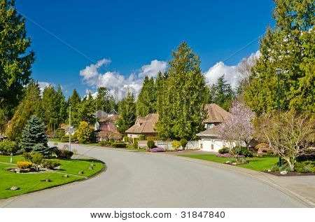 Great neighborhood. Homes in a suburb at Spring in the north America