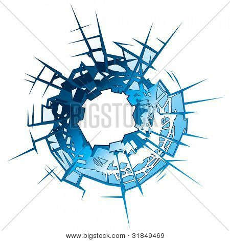 Bullet Hole in glass. Vector Illustration
