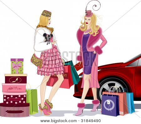 Two nicely dressed young women standing and talking in an environment bags after successful shopping near red car. One of the girls holding a small dog in her right hand.