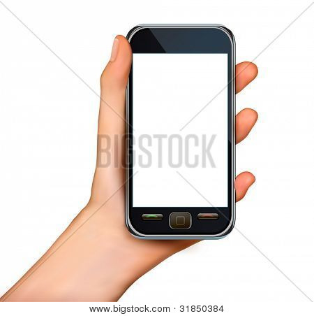 A hand holding smartphone with blank screen. Vector