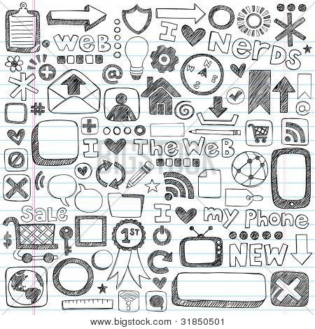 Web / Computer Doodle Icon Set - Back to School Style Sketchy Notebook Doodles Vector Illustration Design Elements on LIned Sketchbook Paper