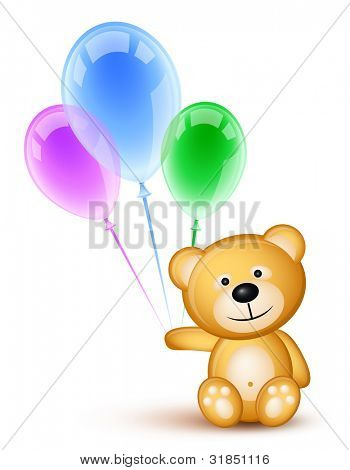 Teddybear holding colored  balloons over white