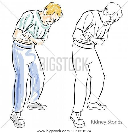 An image of a man with kidney stones having stomach pains.