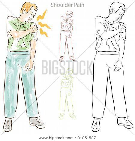 Una imagen de un hombre con dolor en el hombro.