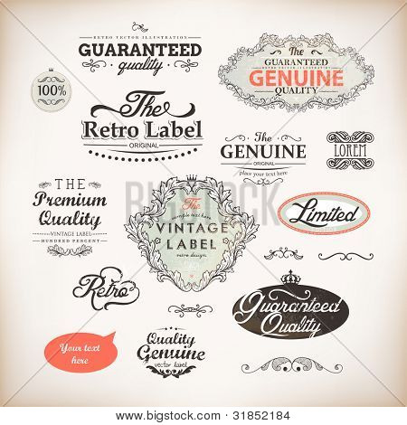 vector set: calligraphic design elements and page decoration, Premium Quality and Satisfaction Guarantee Label collection with vintage frames