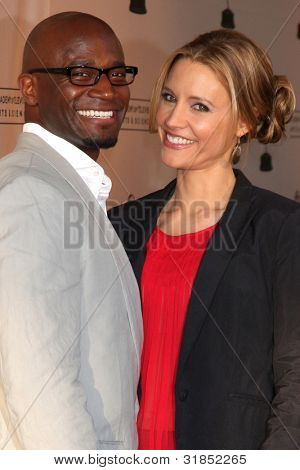 """LOS ANGELES - APR 2:  Taye Diggs, KaDee Strickland arriving at the """"Welcome To ShondaLand: An Evening With Shonda Rhimes"""" at Leonard H. Goldenson Theatre on April 2, 2012 in North Hollywood, CA"""