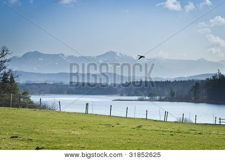 An image of a nice and typical bavarian landscape