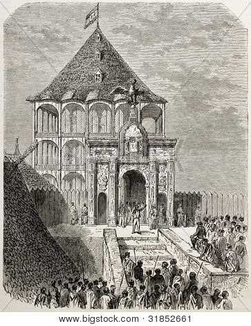 Rasoherina proclamation as Queen of Madagascar in Antananarivo. Created by Gaildrau, published on L'Illustration, Journal Universel, Paris, 1863