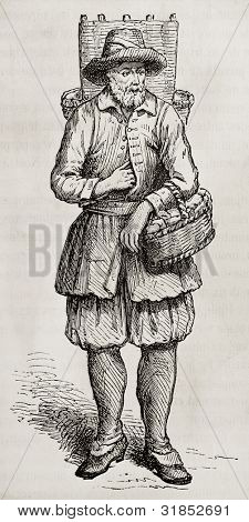 Cheese merchant old engraved portrait. Created by Rocault, published on Magasin Pittoresque, Paris, 1882