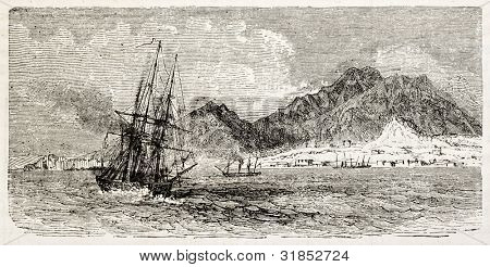 Aden old view from the sea. Created by Blanchard, published on L'Illustration, Journal Universel, Paris, 1863
