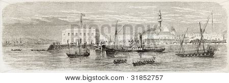 Landing wharf in Suez, old view. Created by Blanchard, published on L'Illustration, Journal Universel, Paris, 1863