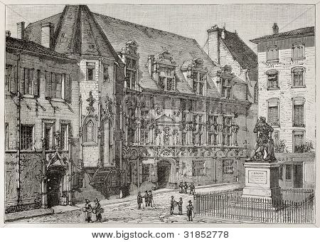 Palace of Justice old view, Grenoble, France. Created by Tilly, published on Magasin Pittoresque, Paris, 1882