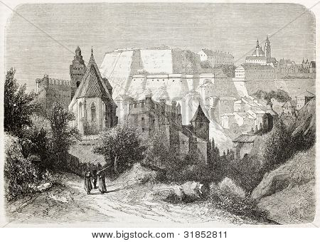 Fortress Josefov old view, Bohemia, Czech Republic. Created by Anastasi, published on L'Illustration, Journal Universel, Paris, 1863