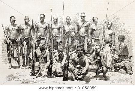 Native Africans escort components of Captains Grant and Speke explorers of Nile sources. Created by Godefroy-Durand of Royer and Aufrere, published on L'Illustration, Journal Universel, Paris, 1863